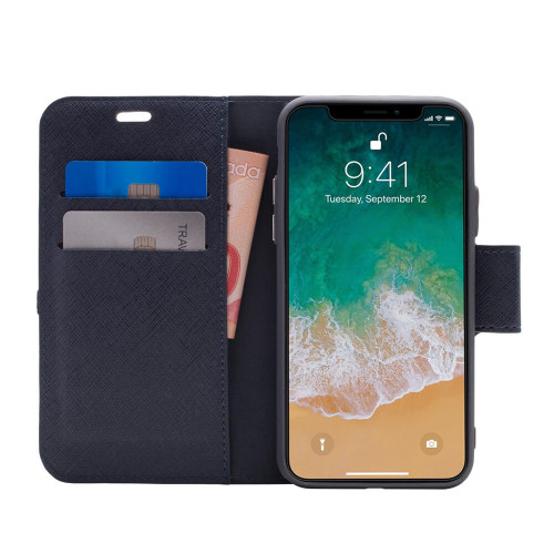 Caseco Broadway 2-in-1 RFID Shield Folio Case  iPhone XS Max | Blue | Open