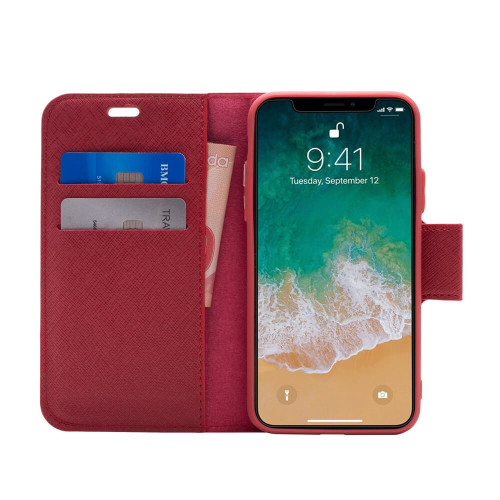 Broadway 2-in-1 RFID Shield Folio Case iPhone XS Max | Red | Open
