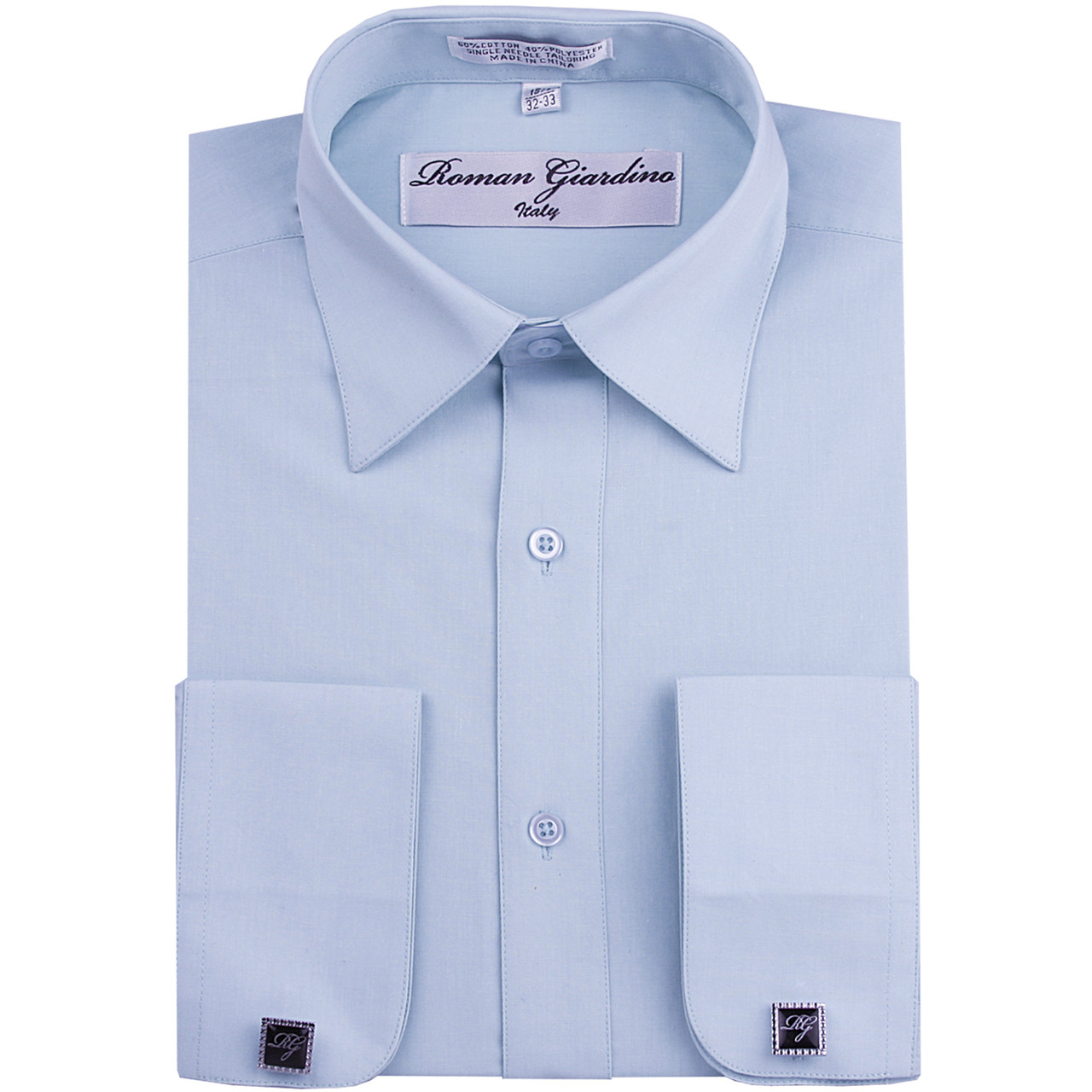 Roman Giardino Mens Cotton Dress Shirt Only 26 Baby Blue