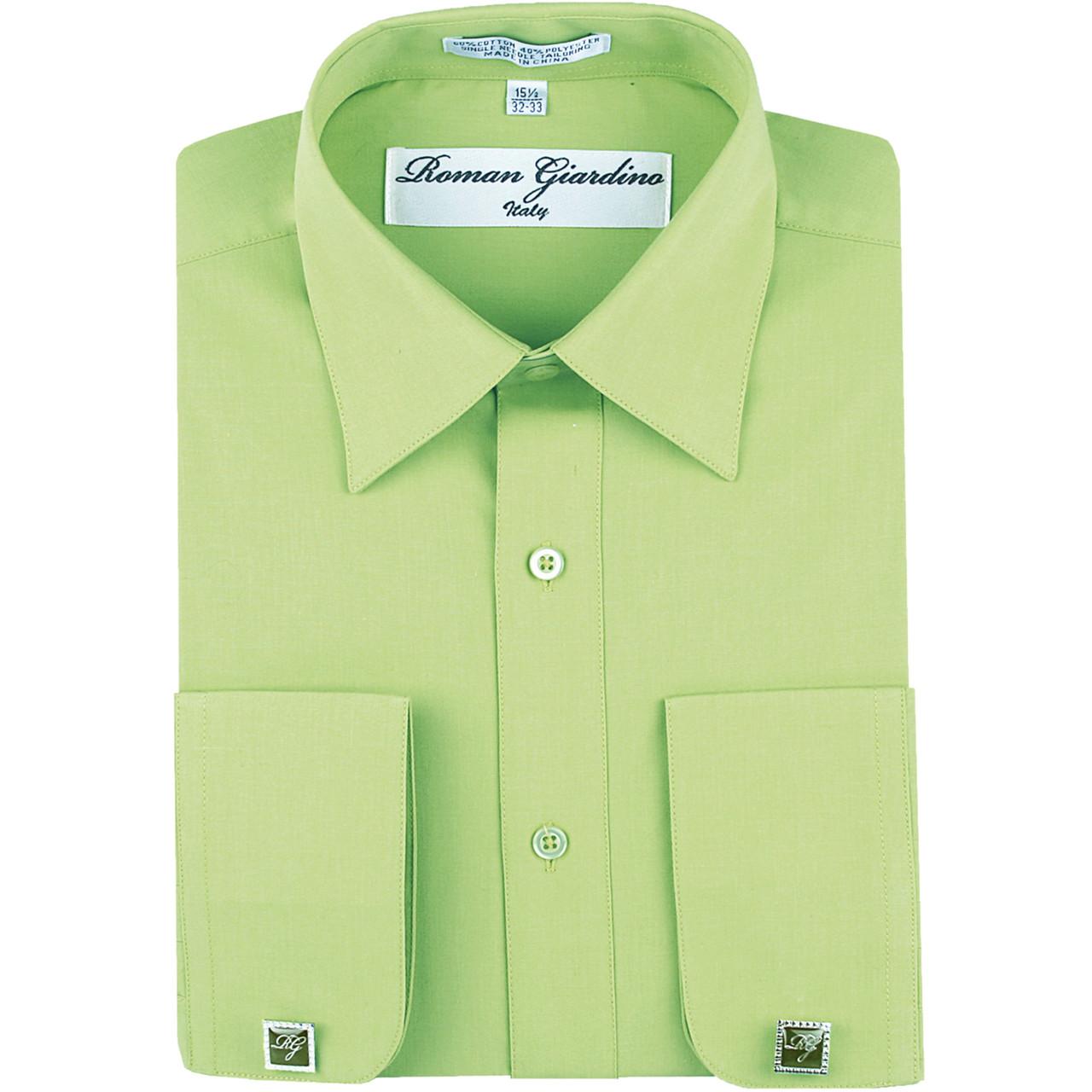 d82e1c337 Men s Long Convertible Collar Dress Shirt with Free Cufflink - Honeydew