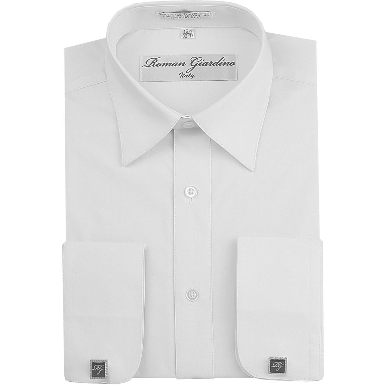 Roman Giardino Mens Cotton Dress Shirt Only 26 Bleach White