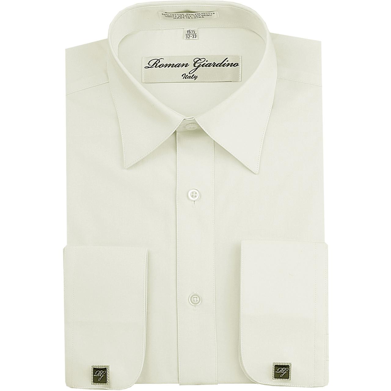 Mens Dress Shirt Free Cufflinks Embroidered Cuff Off White