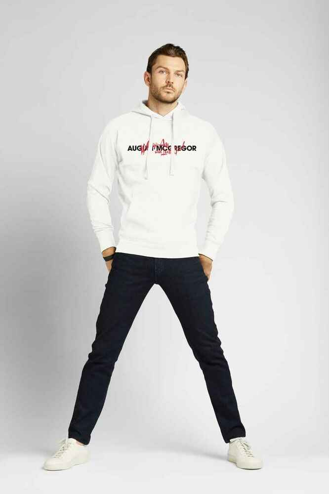 August McGregor Fleece Whoop Ass Embroidered Hooded Sweatshirt in White