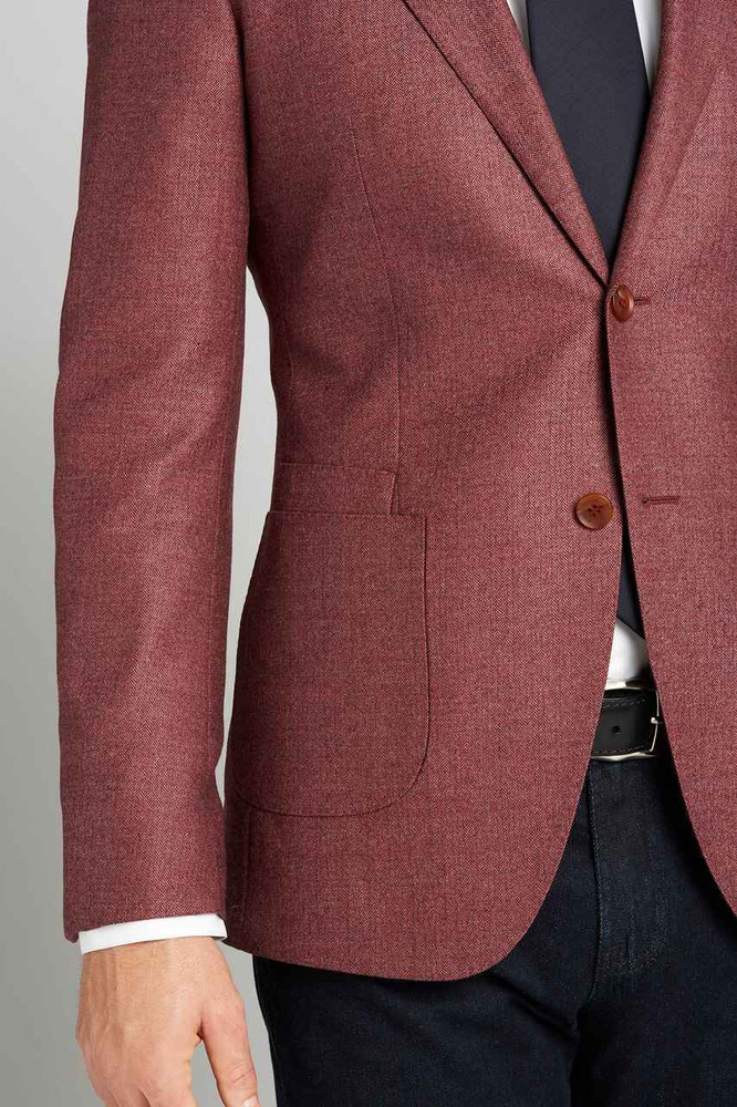 August McGregor Cut-to-Order Cranberry Herringbone Sport Coat