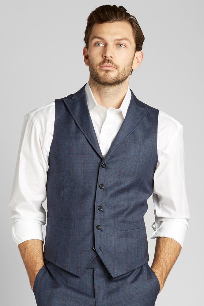 Blue Grey with Red Wyndham Plaid Vest
