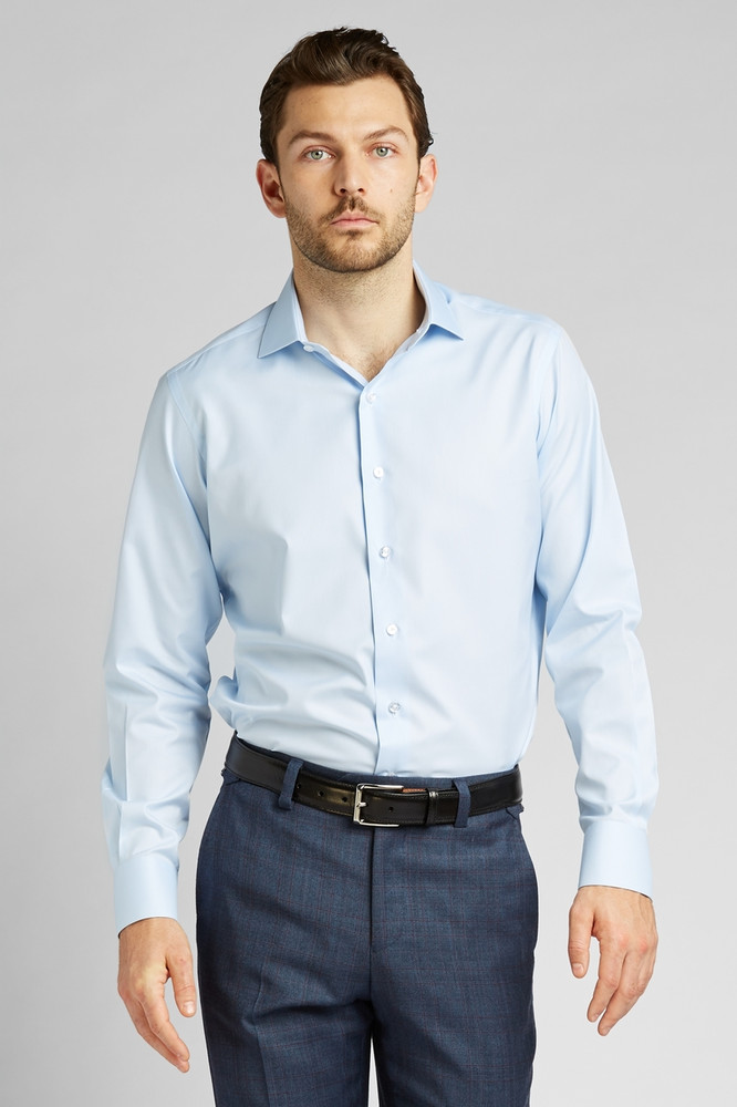 August McGregor Button-Front Dress Shirt in Blue with convertible cuffs