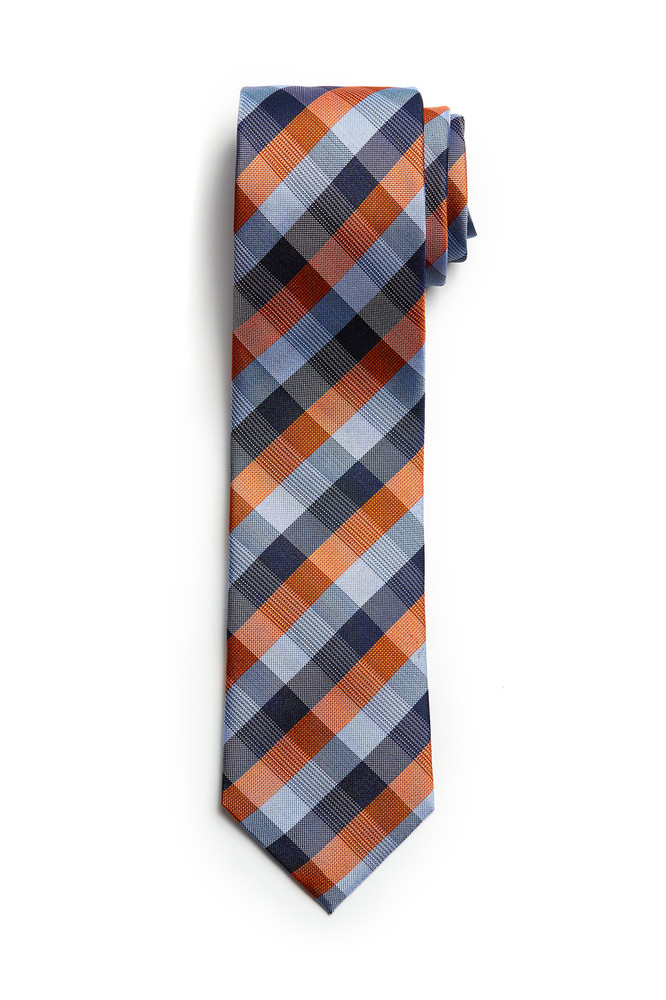 August McGregor Orange Blue Check Tie