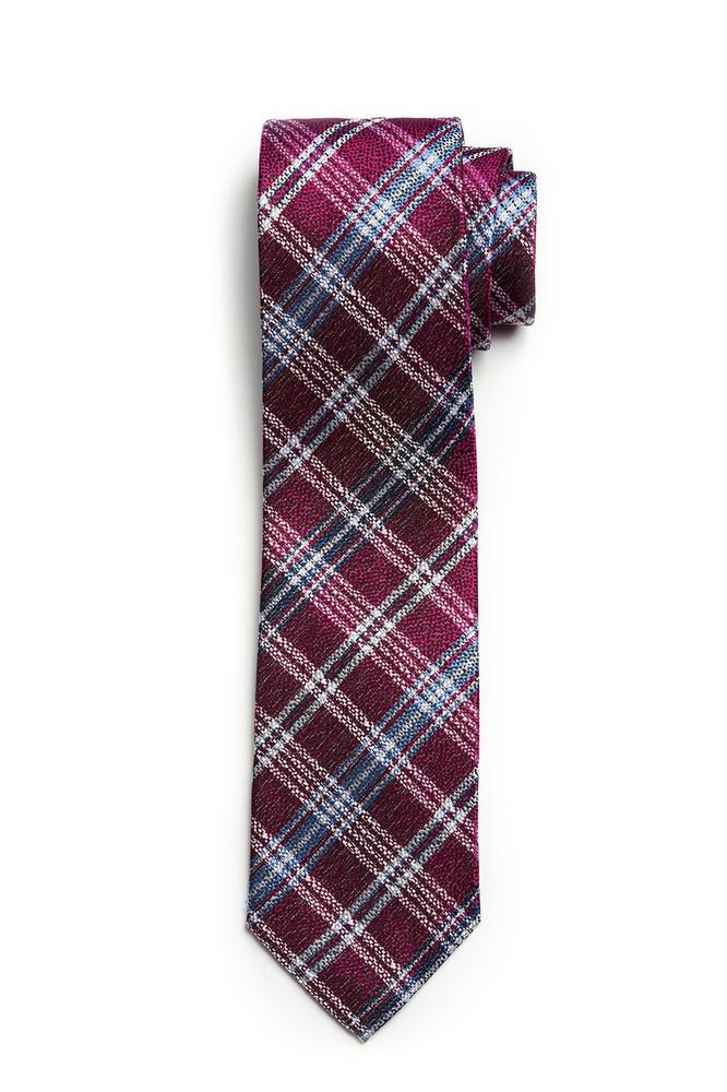 August McGregor Deep Fuscha with Slate Blue & White Plaid Tie