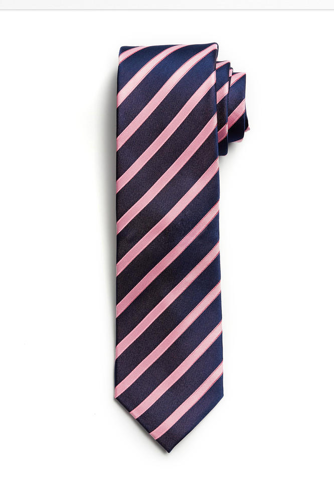 Classic Navy and Pink Stripe Tie