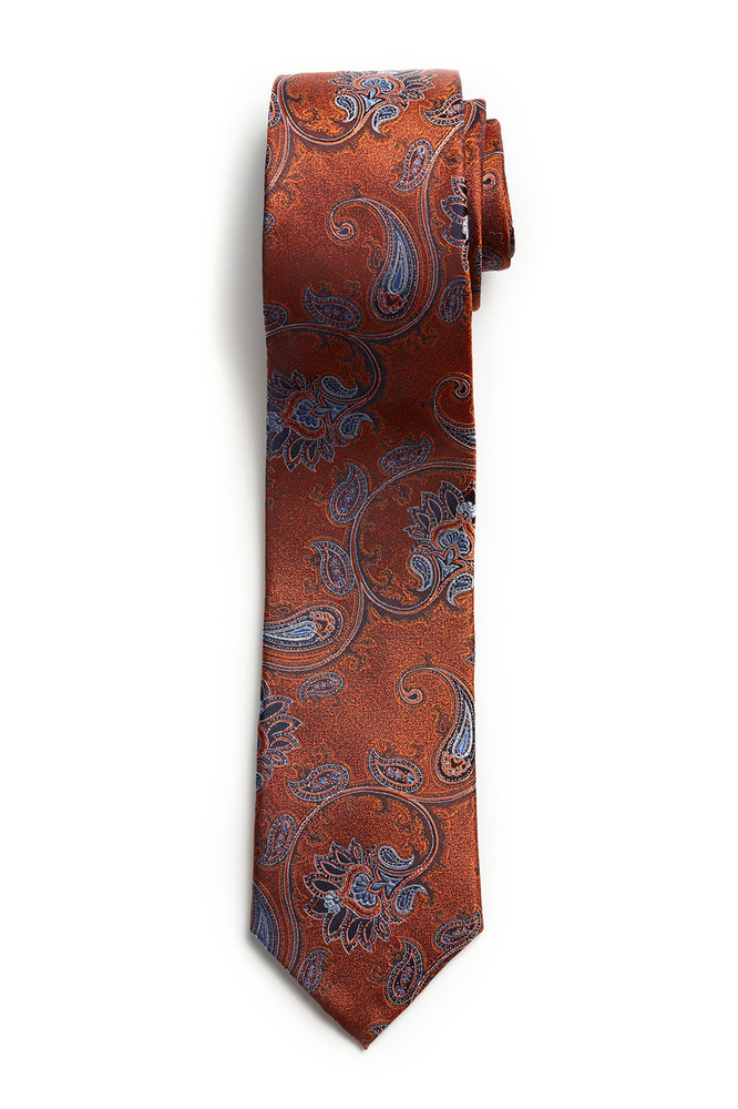 August McGregor Orange Blue Paisley Tie
