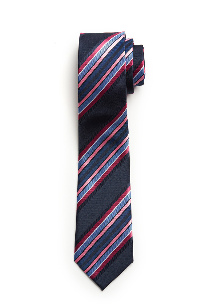 Navy with Burgundy Pink Blue Stripe Skinny Tie