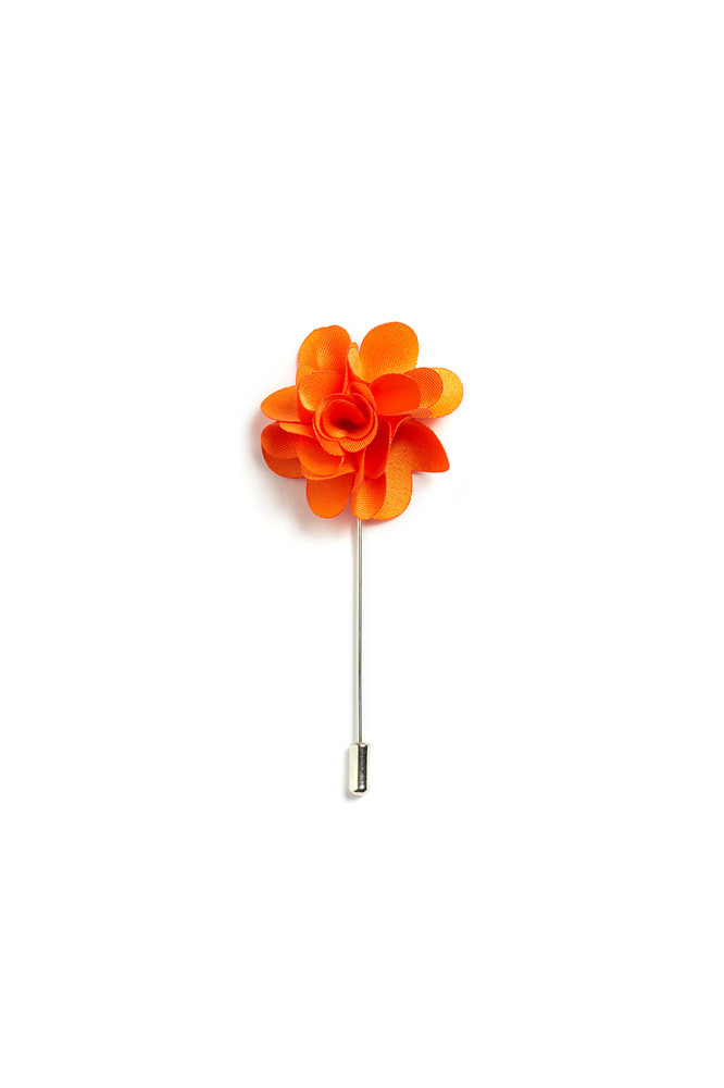 August McGregor Orange Floral Lapel Pin