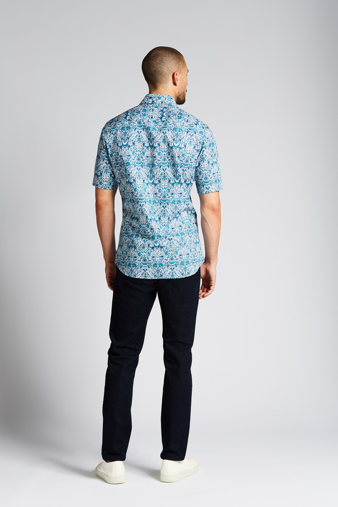 August McGregor Mackintosh Turquoise Floral Short-Sleeve Button-Front Shirt