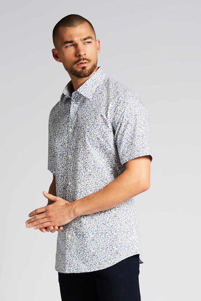 August McGregor Topanga Blue Vine Short-Sleeve Button-Front Shirt