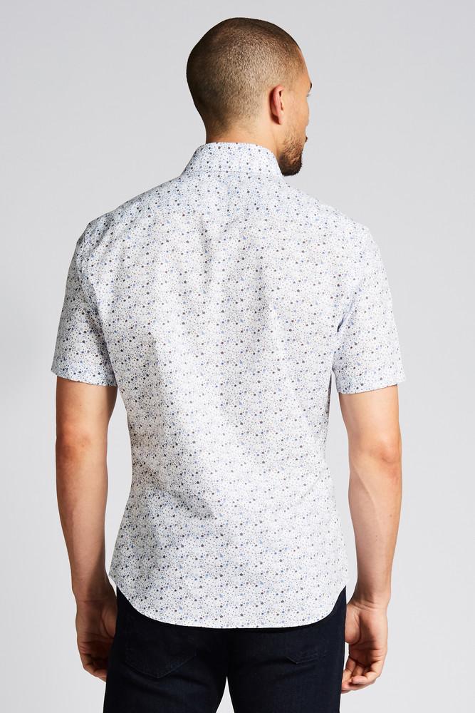 August McGregor Mid-Century Night's Dream Blue Short-Sleeve Button-Front Shirt