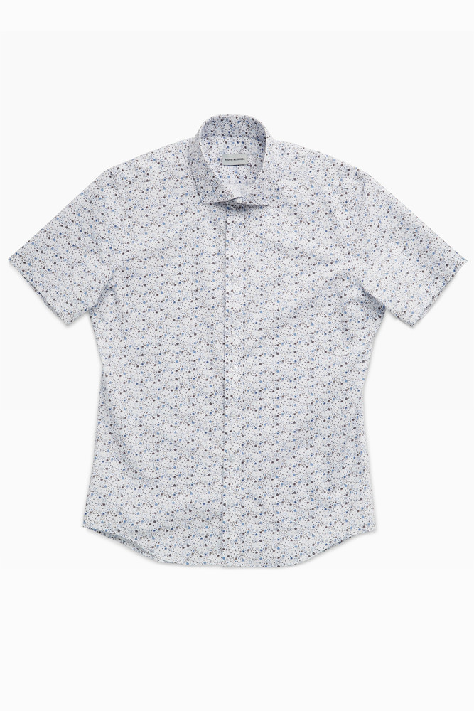 August McGregor Mid-Century Night's Dream Blue Short-Sleeve Button-Front Shirt