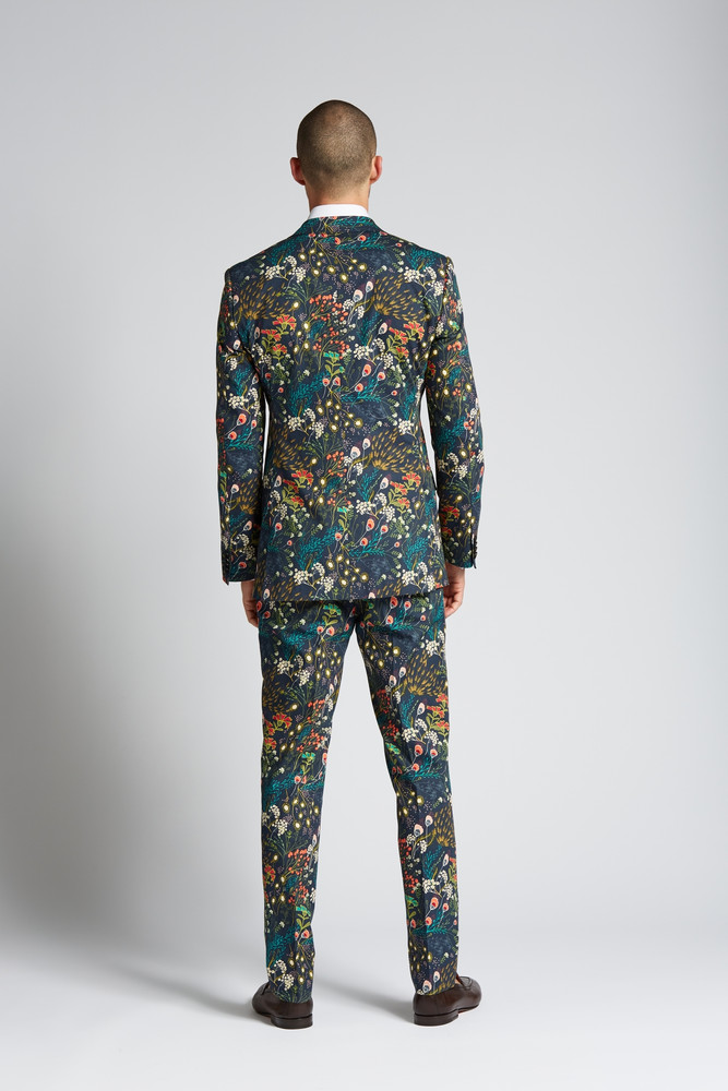 Slim-fit Cotton 2-Piece Suit in Crystal Cove Navy Bloom