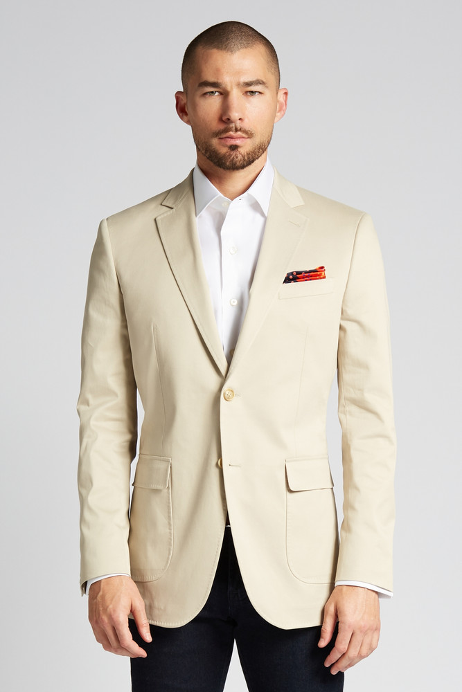 August McGregor Slim-fit Stretch Cotton Chino Jacket in Khaki