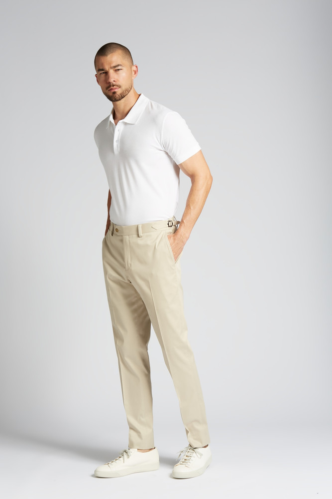 August McGregor Slim-fit Stretch Cotton Chino Trousers in Khaki