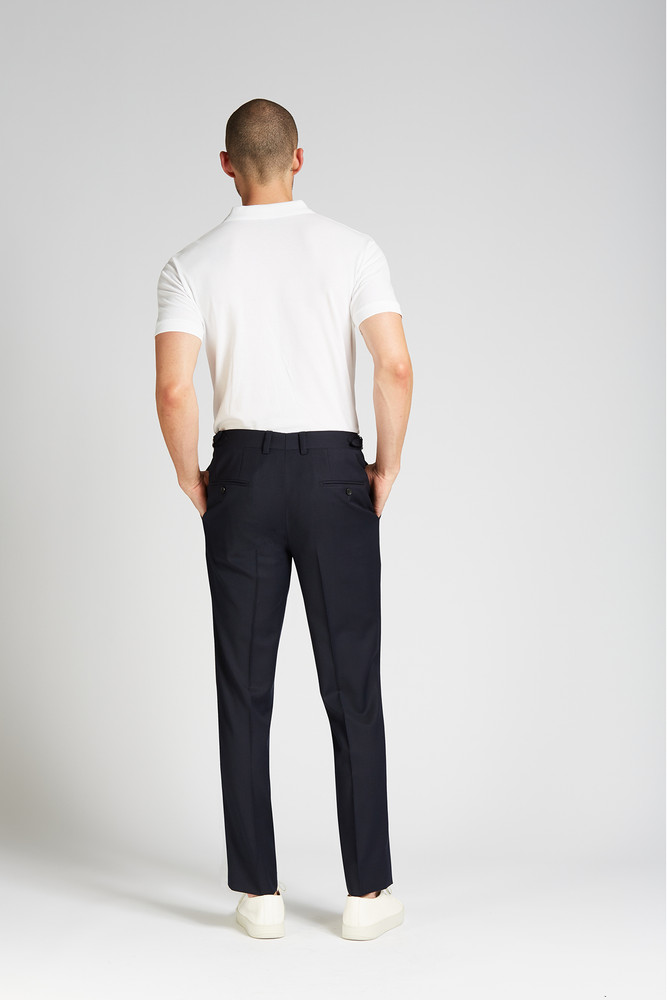 August McGregor Slim-fit 4-Season Wool Trousers in Midnight Navy
