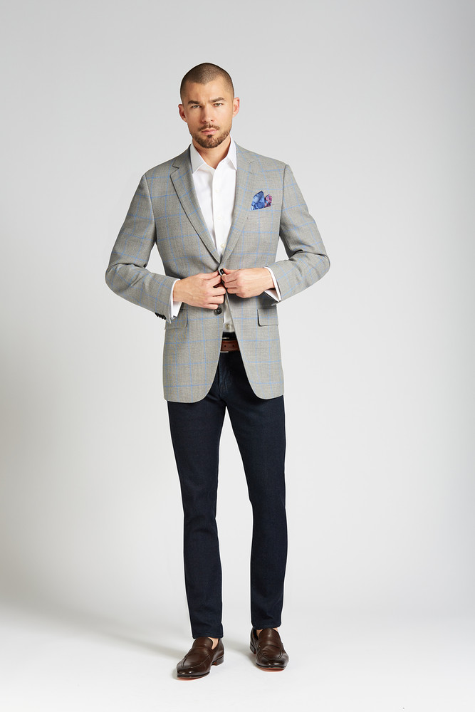August McGregor Slim-fit 4-Season Wool 2-piece Suit in Grey with French Blue Windowpane