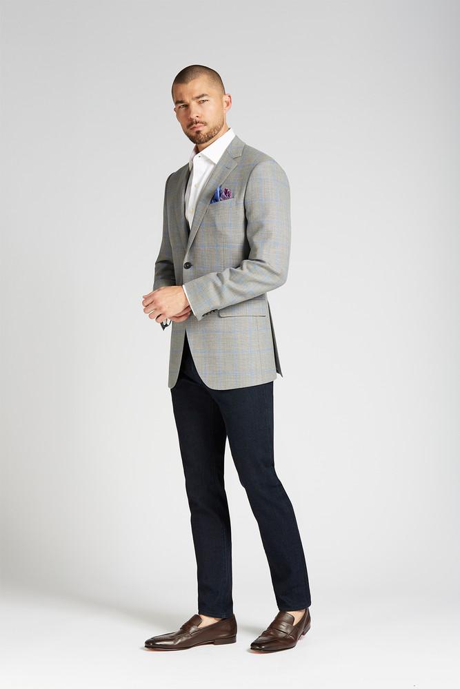 August McGregor Slim-fit 4-Season Wool Jacket in Grey with French Blue Windowpane