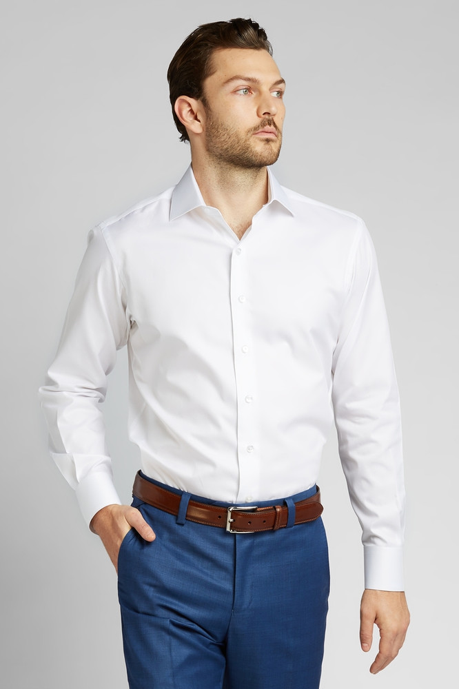 Button-Front Dress Shirt in White