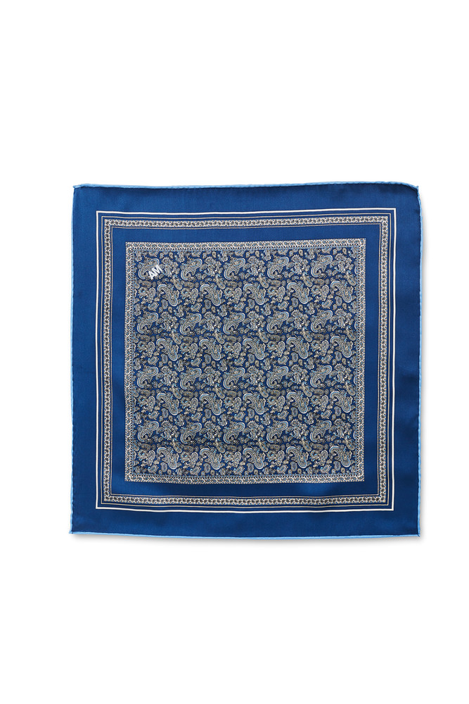 August McGregor blue with periwinkle paisley silk pocket square