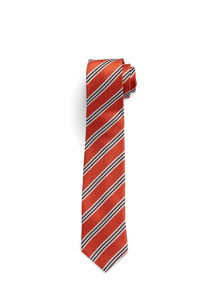 August McGregor Burnt Orange with White and Burgundy Stripe Tie