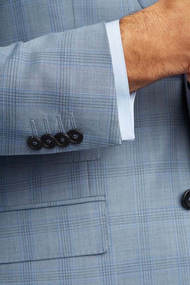 August McGregor Slim-fit Super 130s Wool 3-piece Suit in Steel Blue Glen Plaid