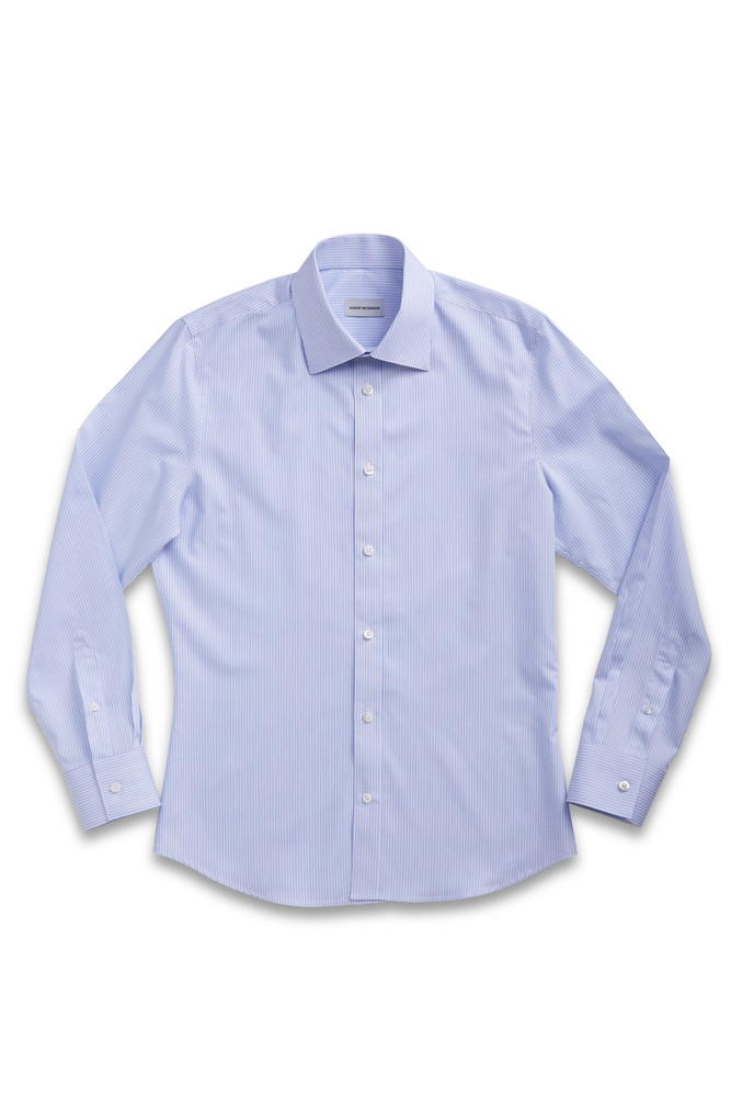 August McGregor Button-Front Dress Shirt in Vertical Blue Stripe with convertible cuffs