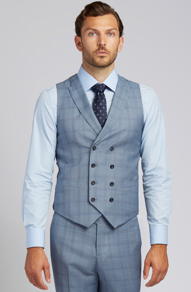 August McGregor Slim-fit Super 130s Wool Vest in Steel Blue Glen Plaid