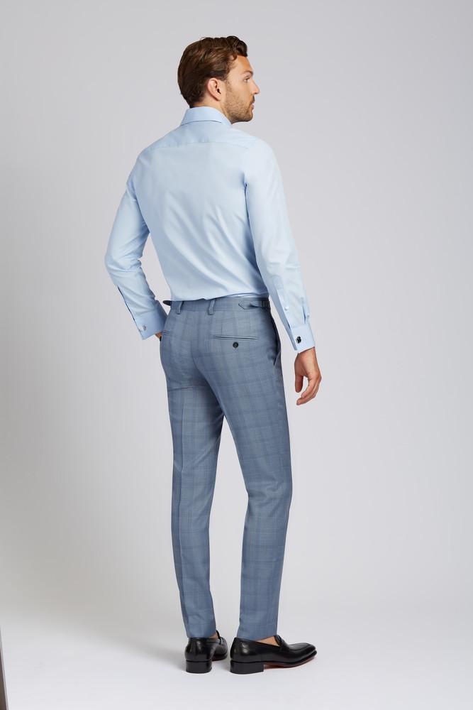 Slim-fit Super 130s Wool Trousers in Steel Blue Glen Plaid