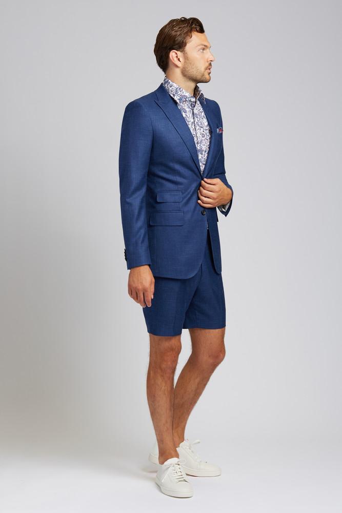 Slim-Fit Linen Blend Jacket in Lapis Blue