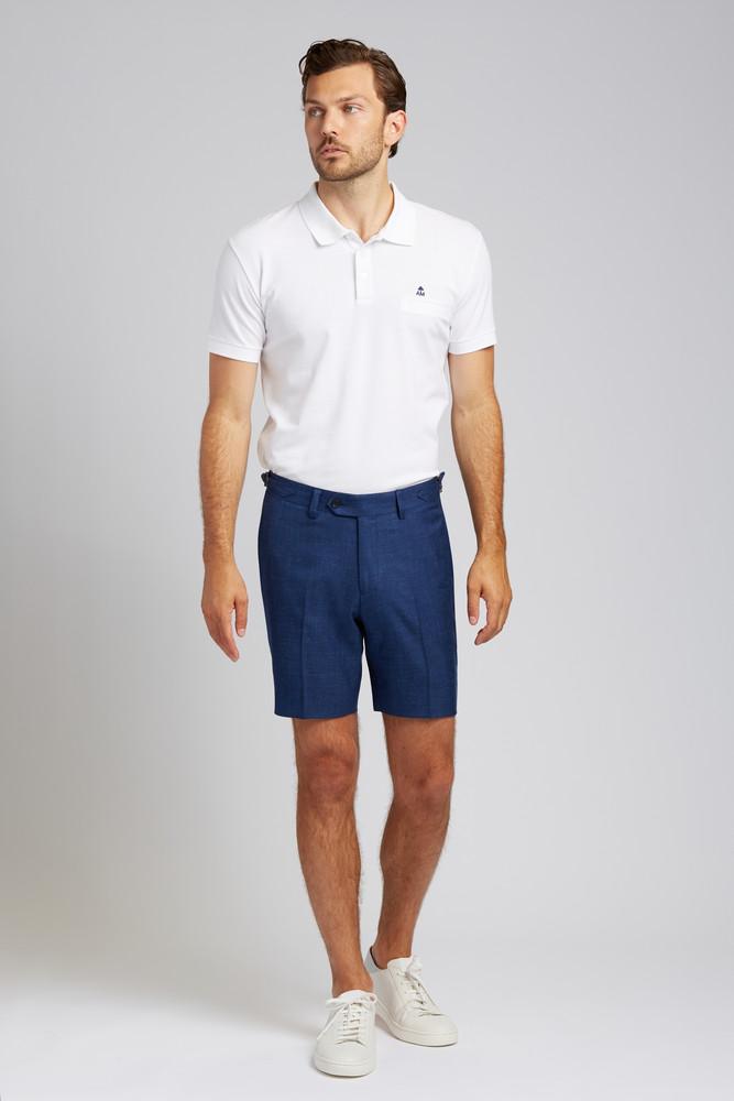 August McGregor Slim-fit Linen Blend Shorts in Lapis Blue