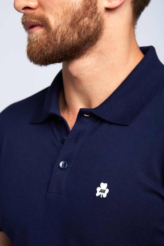 August McGregor Clover Pima Cotton Pique Polo in Navy
