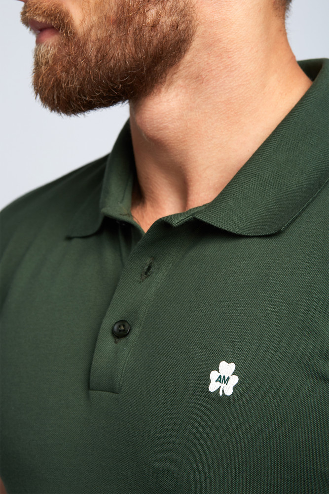 AM Clover Pique Polo in Olive Green