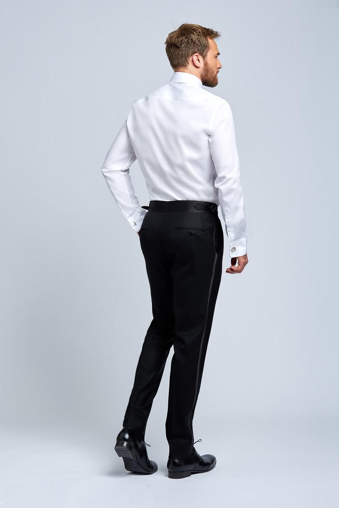 August McGregor Charcoal Grey Damask Wool Evening Jacket with Tuxedo Pants