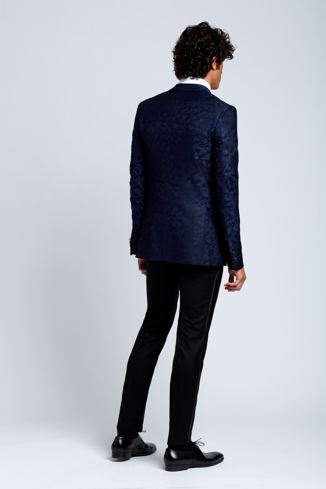 Midnight Navy Camouflage Evening Jacket with Tuxedo Pants