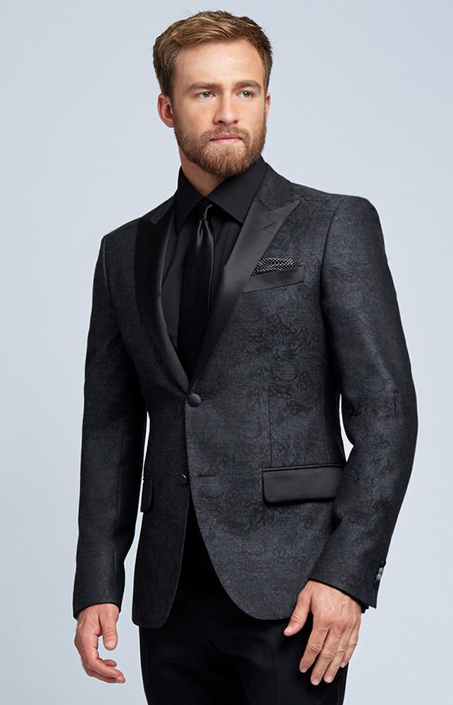 August McGregor Charcoal Grey Damask Wool Evening Jacket