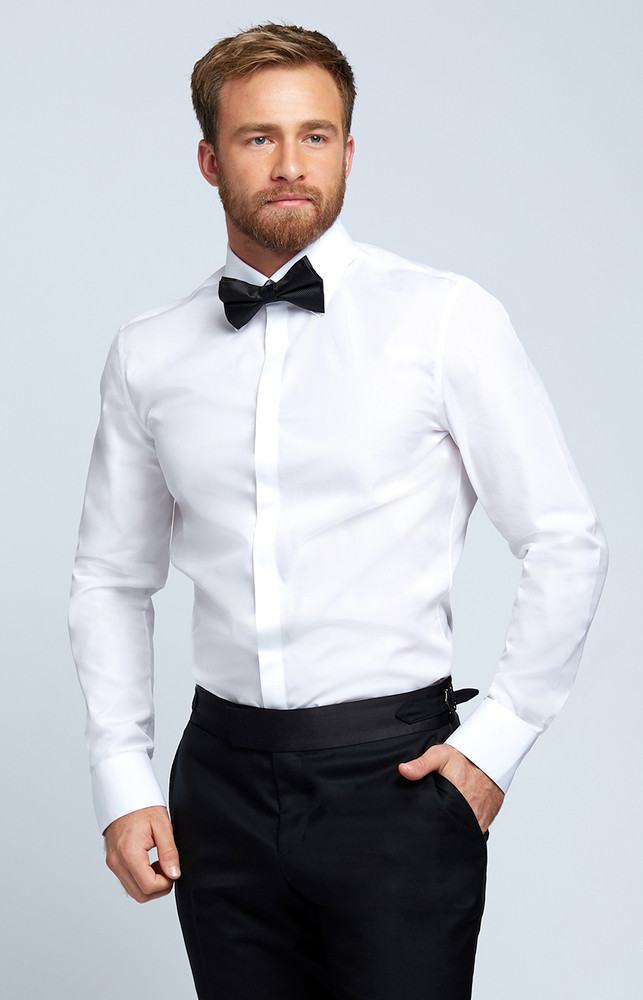 August McGregor Evening Dress Shirt with Plain Placket in White