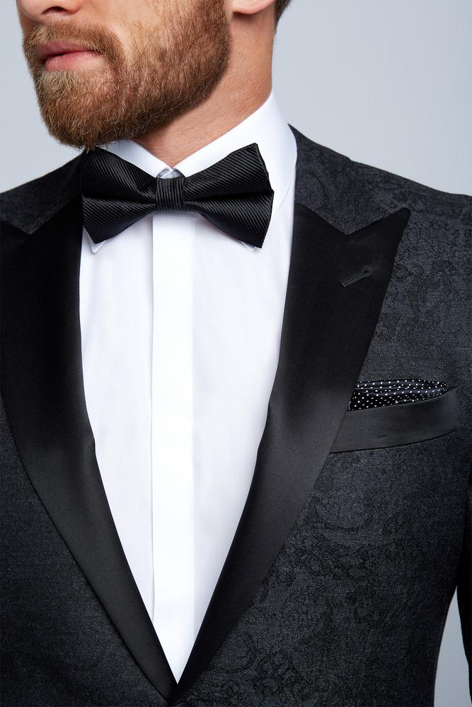 August McGregor Pre-tied Black Grosgrain Bow Tie