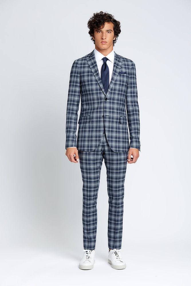 August McGregor Slim-fit Four Season Wool 2-Piece Suit in Large Navy Grey Check Plaid