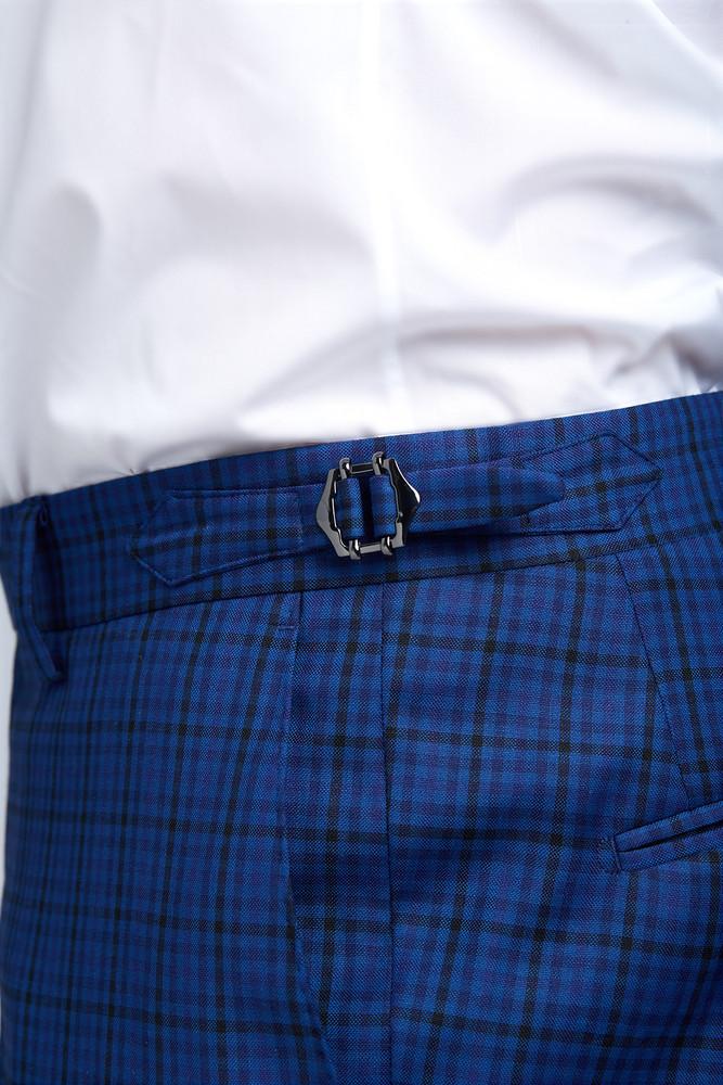 August McGregor Slim-fit Four Season Wool Trousers in Multi Blue Mini Check Plaid