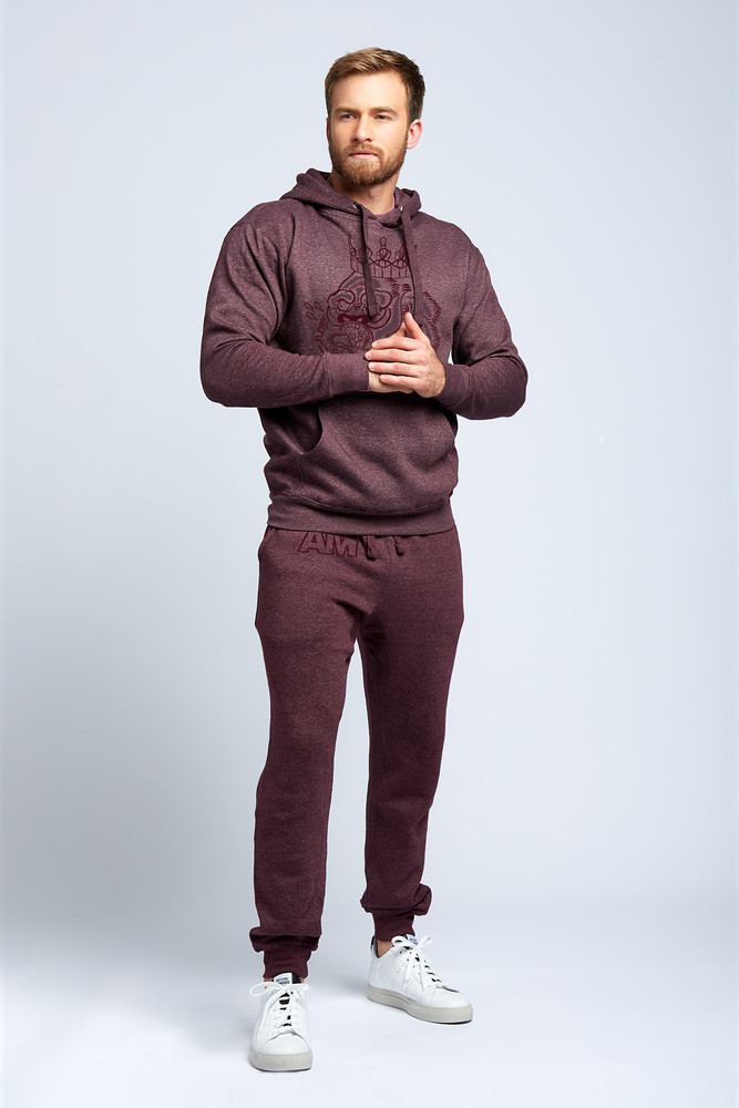 August McGregor Flocked Gorilla Hooded Sweatshirt in Plum