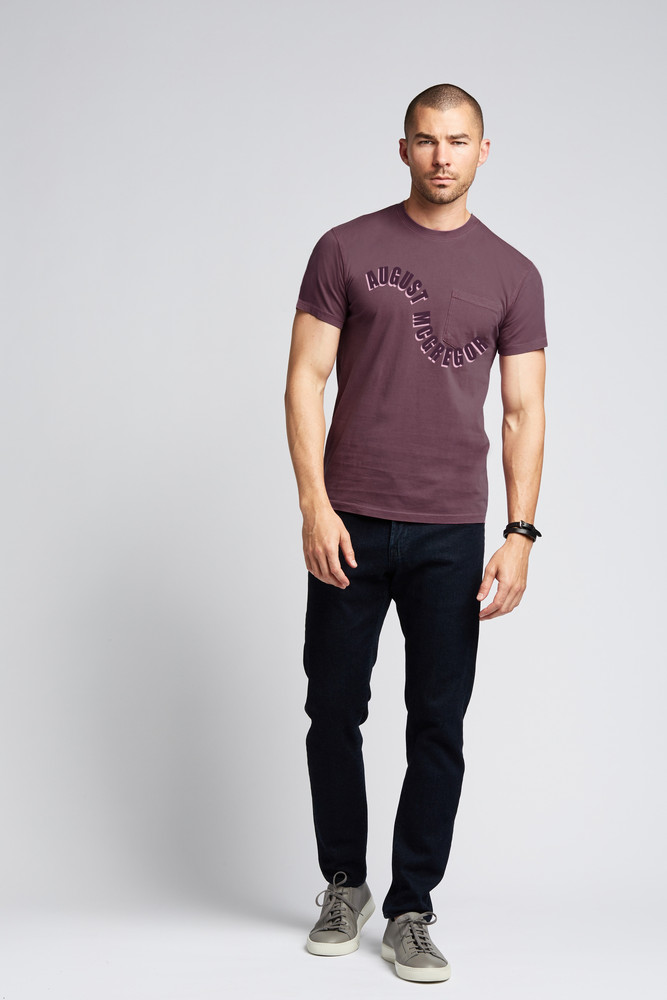 August McGregor Pocket T-Shirt in Faded Plum