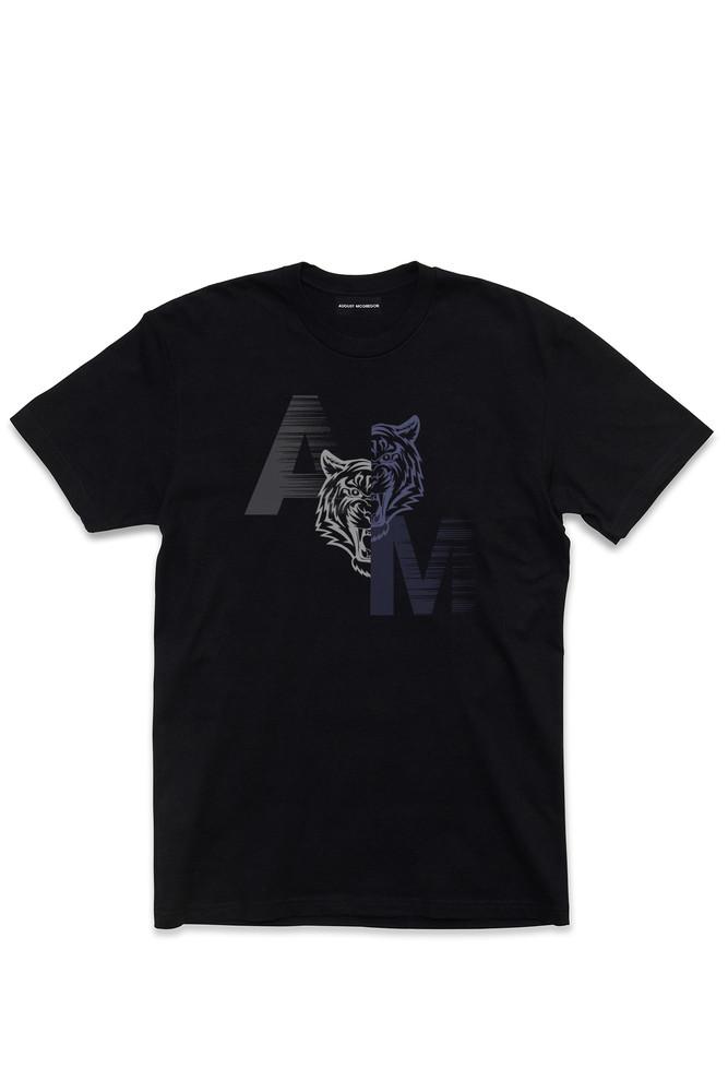 August McGregor Yin Yang Tiger Crewneck T-Shirt in Black