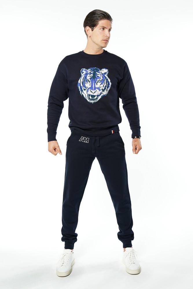 August McGregor Conor McGregor Tiger Crewneck Sweatshirt in Navy