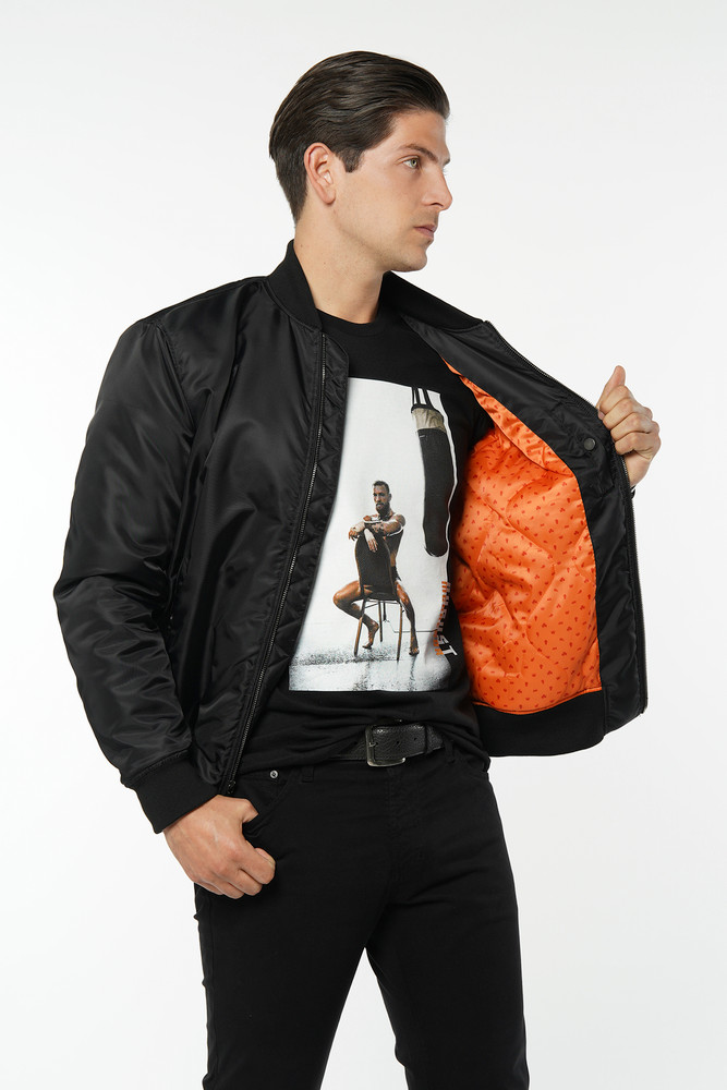 August McGregor Black Nylon Bomber Jacket with Contrast AM Icon Orange Quilted Lining