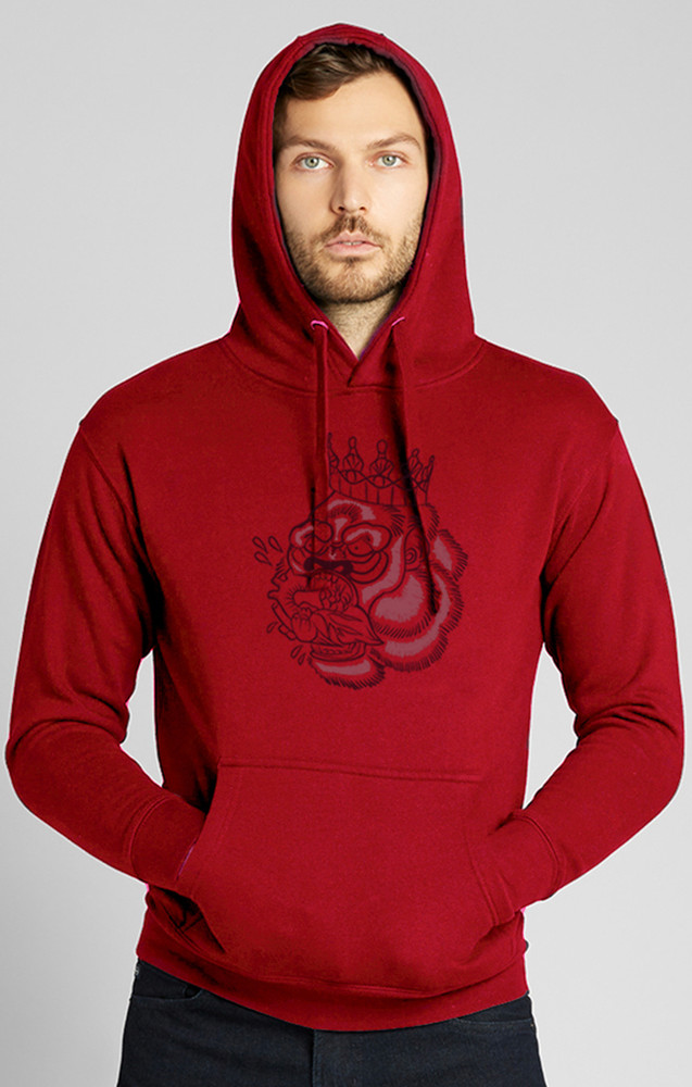 August McGregor Flocked Blood Hungry Gorilla Hooded Sweatshirt in Crimson Red
